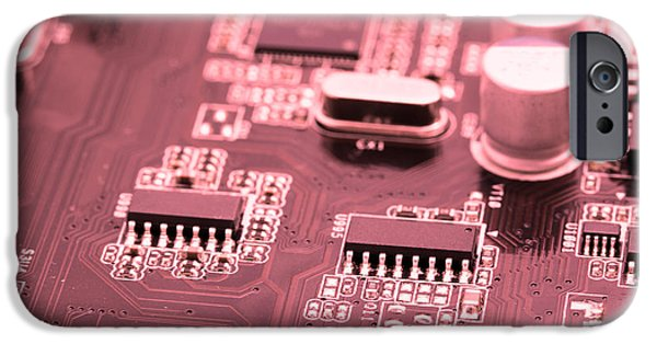 Electrical Component iPhone Cases - Computer motherboard in red  iPhone Case by Jaroslav Frank