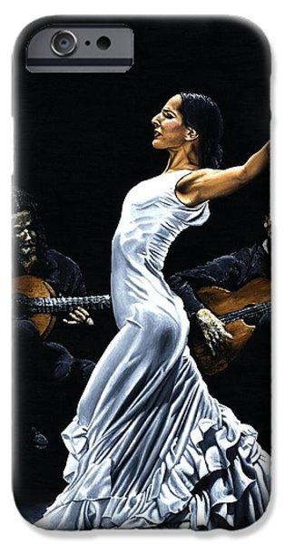White Dress iPhone Cases - Concentracion del Funcionamiento del Flamenco iPhone Case by Richard Young