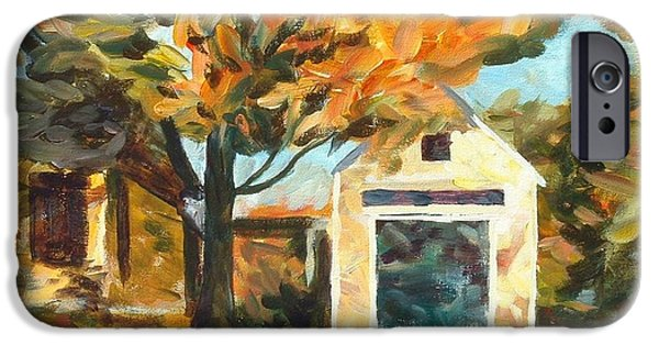 Concord Massachusetts Paintings iPhone Cases - Concord Fall Scene iPhone Case by Claire Gagnon