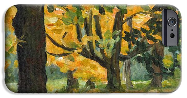 Concord Massachusetts Paintings iPhone Cases - Concord Fall Trees iPhone Case by Claire Gagnon