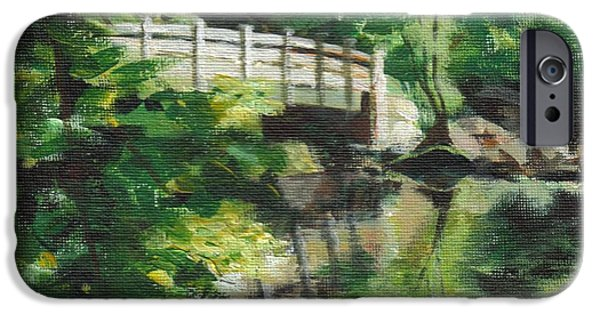 Concord Massachusetts Paintings iPhone Cases - Concord River Bridge iPhone Case by Claire Gagnon