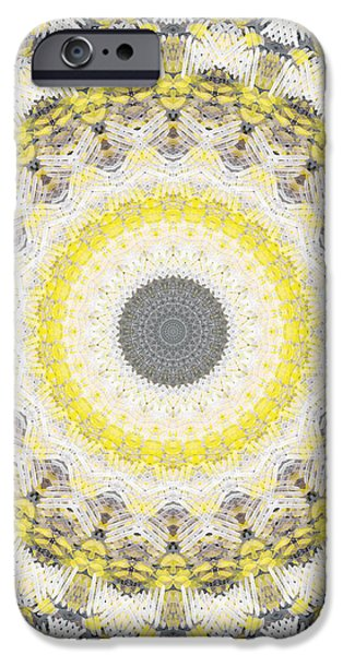 Raining Mixed Media iPhone Cases - Concrete and Yellow Mandala- Abstract Art by Linda Woods iPhone Case by Linda Woods