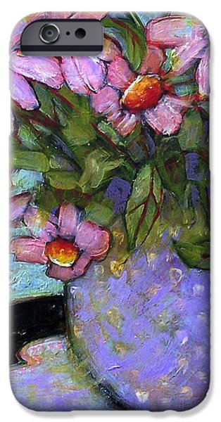Interior Still Life Paintings iPhone Cases - Coneflowers in Lavender Vase iPhone Case by Blenda Studio