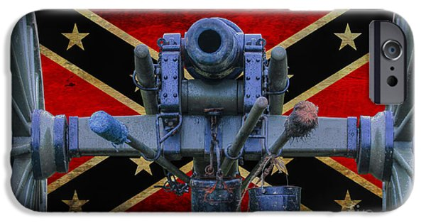Confederate Flag iPhone Cases - Confederate Flag and Cannon iPhone Case by Randy Steele