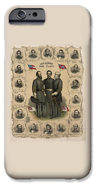 America iPhone Cases - Confederate Generals of The Civil War iPhone Case by War Is Hell Store