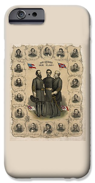 History iPhone Cases - Confederate Generals of The Civil War iPhone Case by War Is Hell Store