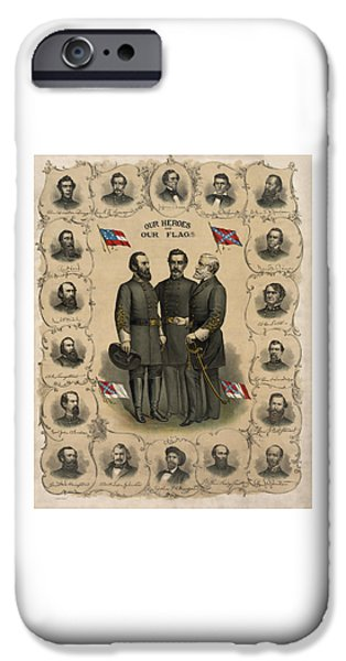 Flag iPhone Cases - Confederate Generals of The Civil War iPhone Case by War Is Hell Store