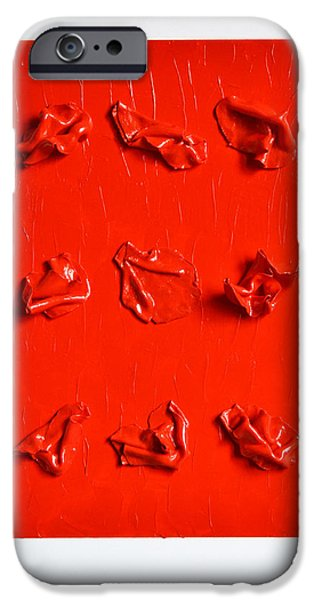 Red Abstract Sculptures iPhone Cases - Confessions iPhone Case by Natalia Sofyina