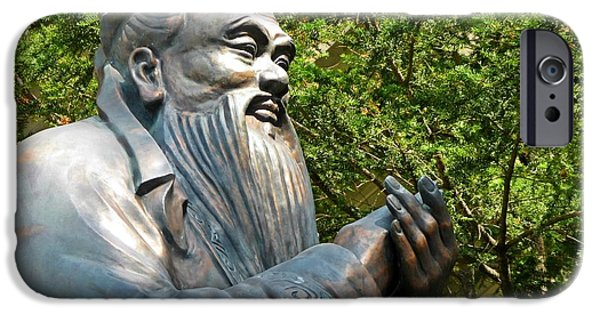 Statue Portrait Sculptures iPhone Cases - Confucius Clapping iPhone Case by John Malone