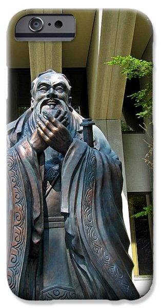 Statue Portrait Sculptures iPhone Cases - Confucius iPhone Case by John Malone