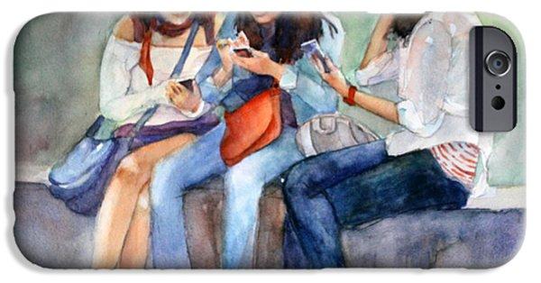 Figures iPhone Cases - Connected iPhone Case by Bronwen Jones