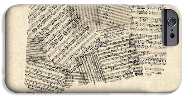 Old Digital Art iPhone Cases - Connecticut Sheet Music Map iPhone Case by Michael Tompsett