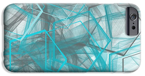 Blue Abstracts iPhone Cases - Connecting Angles iPhone Case by Lourry Legarde