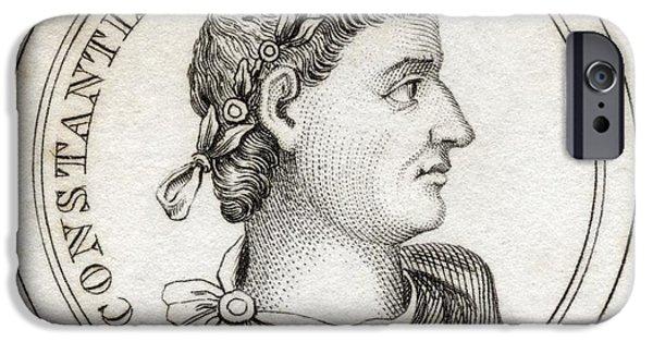 Flavius iPhone Cases - Constantine I Flavius Valerius iPhone Case by Vintage Design Pics