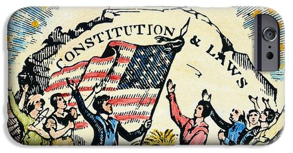 Constitution iPhone Cases - CONSTITUTION CUT, 18th C iPhone Case by Granger
