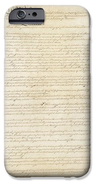 Constitution Paintings iPhone Cases - Constitution of the United States iPhone Case by Celestial Images
