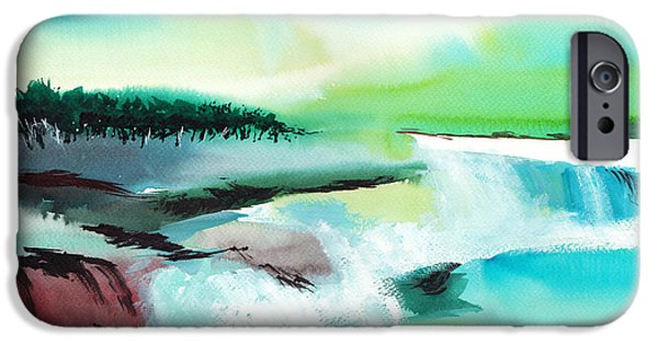 Ocean Sunset Drawings iPhone Cases - Constructing Reality 1 iPhone Case by Anil Nene