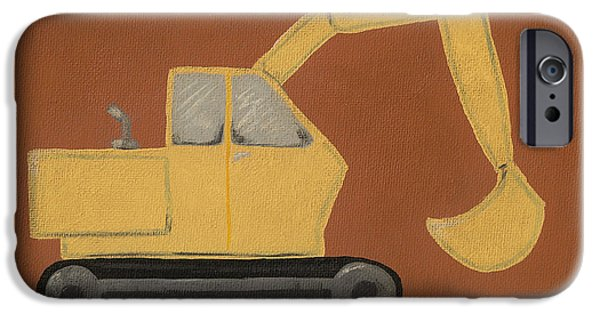 Backhoe iPhone Cases - Construction Digger iPhone Case by Katie Carlsruh