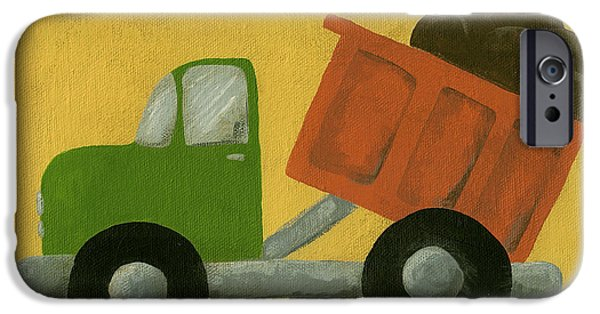 Dump iPhone Cases - Construction Dump Truck Nursery Art iPhone Case by Katie Carlsruh