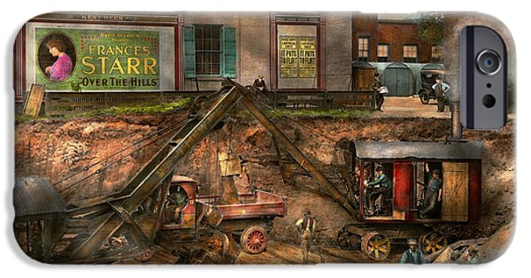 Old Cars iPhone Cases - Construction - It pays to flirt 1916 iPhone Case by Mike Savad