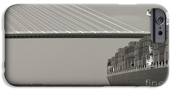 Container iPhone Cases - Container Ship Under Cooper River Bridge iPhone Case by Dustin K Ryan