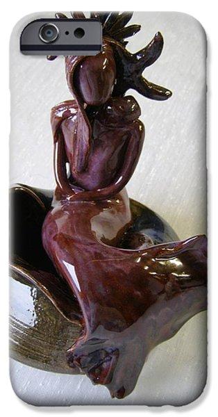 Copper Ceramics iPhone Cases - Contemplation iPhone Case by Sandi Floyd