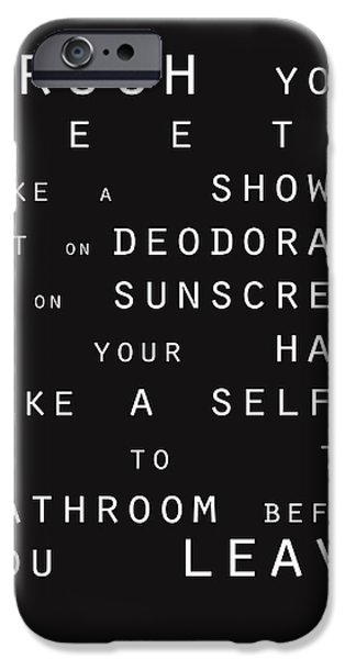 Text Art iPhone Cases - Contemporary Bathroom Rules - Subway Sign iPhone Case by Linda Woods