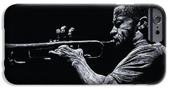 Monotone iPhone Cases - Contemporary Jazz Trumpeter iPhone Case by Richard Young