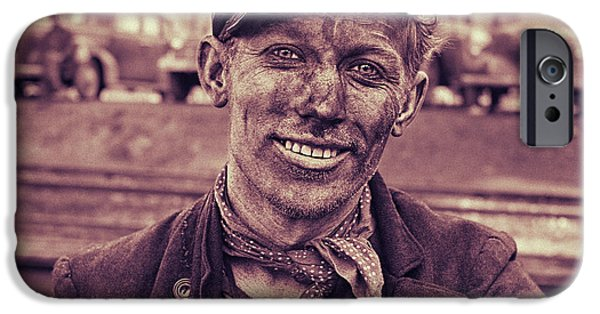 Work Tool iPhone Cases - Content Coal Miner iPhone Case by Carlos Lazurtegui