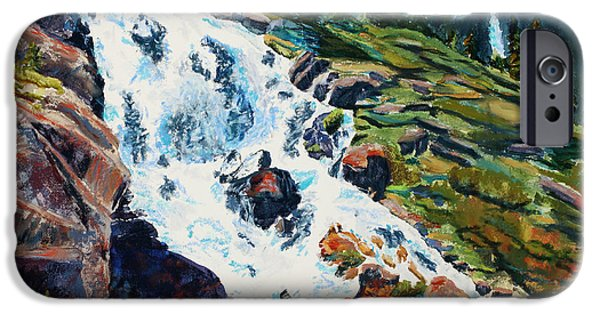 Fall Scenes Pastels iPhone Cases - Continental Falls Revisited iPhone Case by Mary Benke