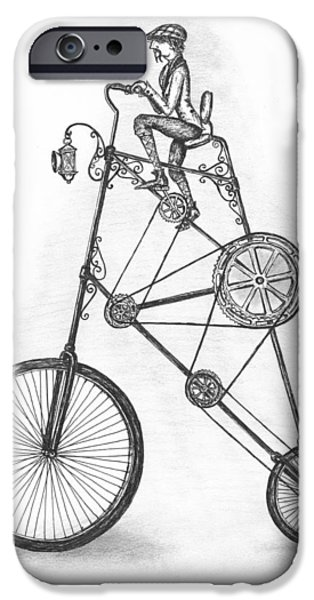 Gear Drawings iPhone Cases - Contraption iPhone Case by Adam Zebediah Joseph