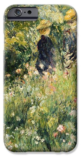 Friend iPhone Cases - Conversation in a Rose Garden iPhone Case by Pierre Auguste Renoir