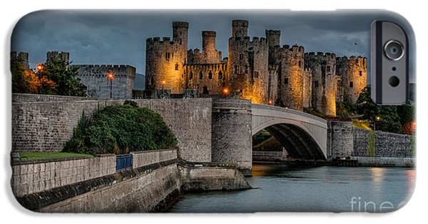 Night Lamp iPhone Cases - Conwy Castle by Lamplight iPhone Case by Adrian Evans
