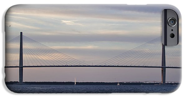 Sailboat iPhone Cases - Cooper River Bridge and colorful clouds iPhone Case by Dustin K Ryan