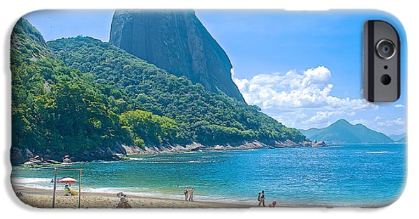 Beach Landscape iPhone Cases - Copacabana Beach near Sugarloaf Mountain in Rio de Janiero-Brazil iPhone Case by Ruth Hager