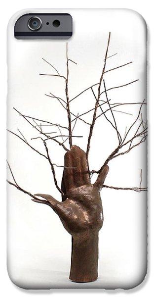 Texture Sculptures iPhone Cases - Copper Tree Hand a sculpture by Adam Long iPhone Case by Adam Long