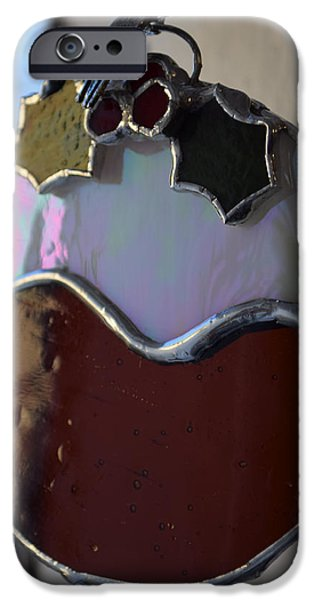 Christmas Glass Art iPhone Cases - Copperfoiled Xmas Pud iPhone Case by Rosalind Duffy