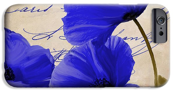 California Poppies iPhone Cases - Coquelicots Bleue iPhone Case by Mindy Sommers