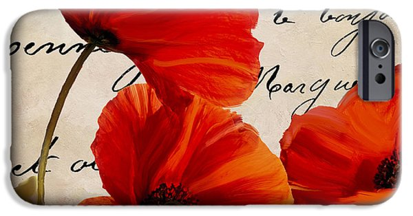 California Poppies iPhone Cases - Coquelicots Rouge I iPhone Case by Mindy Sommers