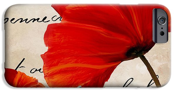 California Poppies iPhone Cases - Coquelicots Rouge II iPhone Case by Mindy Sommers
