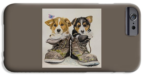 Puppies iPhone Cases - Corg n Boots iPhone Case by Michelle McAdams