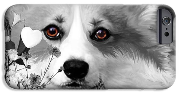 Dog In Landscape iPhone Cases - Corgi in the Flowers with a Splash of Color iPhone Case by Kathy Kelly