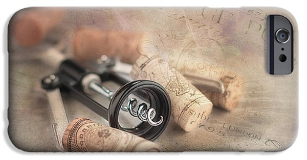 Stopper iPhone Cases - Corkscrew and Wine Corks iPhone Case by Tom Mc Nemar