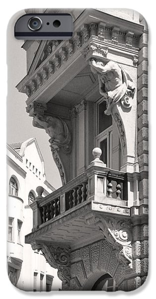 Balcony Sculptures iPhone Cases - Corner Balcony with Figure Sculpture Budapest iPhone Case by James Dougherty