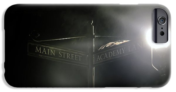 Night Lamp iPhone Cases - Corner Of Main Street and Academy Lane iPhone Case by Madeline Ellis