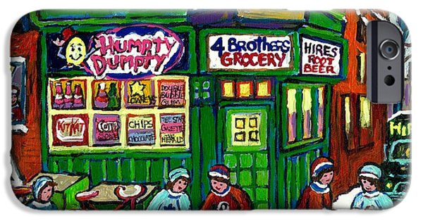 Hockey Paintings iPhone Cases - Corner Store Paintings Vintage Grocery Humpty Dumpty 4 Brothers Hires Root Beer Truck Canadian Art iPhone Case by Carole Spandau