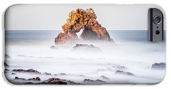 Beach Landscape iPhone Cases - Corona Del Mar Arch Rock in Newport Beach California iPhone Case by Paul Velgos