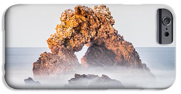 Beach Landscape iPhone Cases - Corona Del Mar Arch Rock Panorama Photo iPhone Case by Paul Velgos