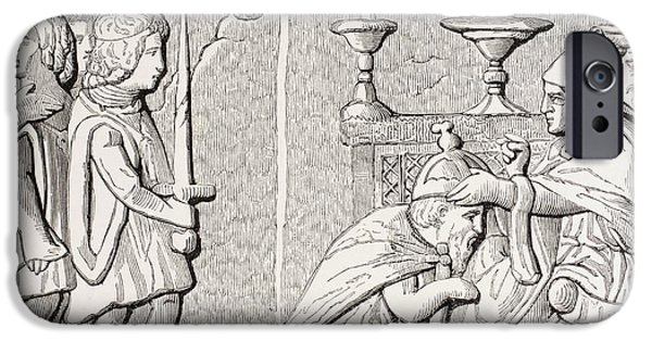 Pope Drawings iPhone Cases - Coronation Of Emperor Sigismond By Pope iPhone Case by Ken Welsh
