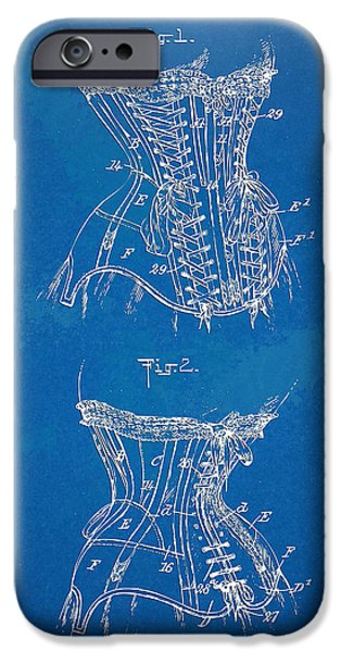 Corset iPhone Cases - Corset Patent Series 1908 iPhone Case by Nikki Marie Smith